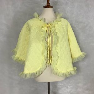 Vintage 50s 60s Quilted Yellow Bed Jacket Robe